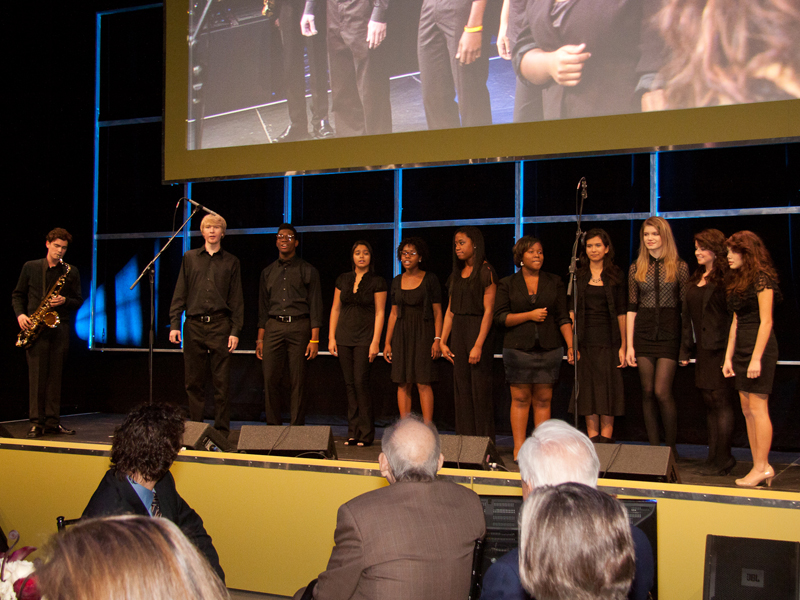 The Jazz Singers from Booker T. Washington High School perform the theme song from Sesame Street.