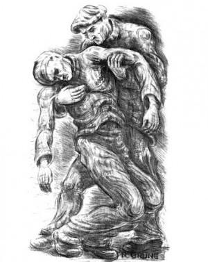 Solidarity, by Richard Grune (1903-1983), lithograph, 1947. Schwules Museum, Berlin.