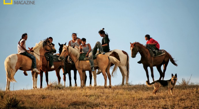 Riders take a break during a day of activities to mark the 1876 defeat of Lt. Col. George Armstrong Custer. © Aaron Huey
