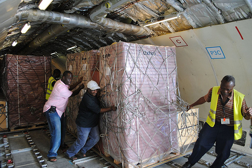 Aid arriving in Monrovia.