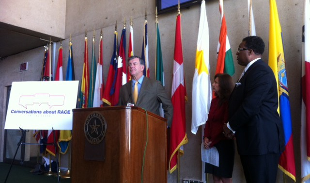 Dallas Mayor Mike Rawlings with Conversations about Race co-chairs Elba Garcia, the Dallas County Commissioner, and Dwaine Caraway, the Dallas City Council member. Photo Credit: BJ Austin/KERA News