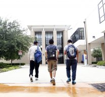 Joel Luera (center) walks with friends Juan Martinez (left) and Steve Vasquez (right) at Eastfield College Campus where Juan takes classes as part of W.W. Samuell Early College High School in Dallas. Photographed Monday, April 18, 2016. (photo © Lara Solt)