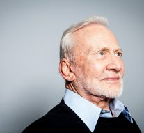 Buzz Aldrin poses for a portrait at the NPR offices in Washington, DC.