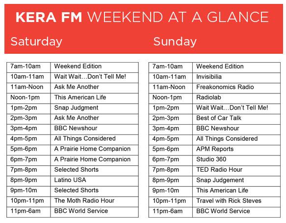 New Weekend Schedule